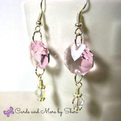 Swarovski Handmade Pink Octagon Earrings by CardsAndMoreBySheri