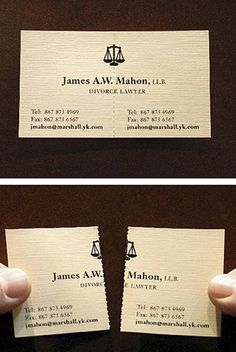 My favourite. Visiting card of a divorce lawyer.