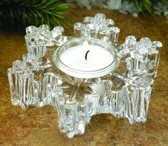 Snowflake Glass Tea Light Candle Holders, Set of 2 Candle Holder Set, Tealight Candle Holders, Christmas Candle Holders, Candle Accessories, Snowflakes, Candles, Glass, Holiday, Decor