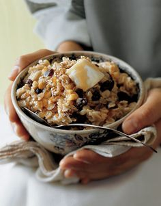 The equivalent of comfort food for breakfast, oatmeal warms the stomach for a late-morning brunch. Mix in golden raisins or dried fruit such as cranberries or apricots at the end of the cooking process; cook until they plump up. Recipe: Cozy Oatmeal   - CountryLiving.com