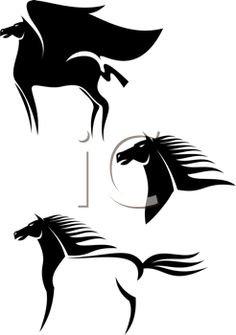Royalty Free Clipart Image of a Set of Horses