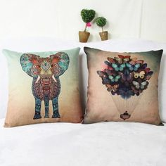 Fashionable Color Animal Pattern Printed Square Composite Linen Blend Pillow Case