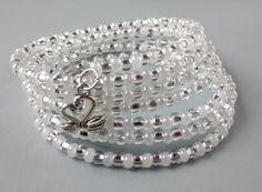 White and Silver Memory Wire Bracelet