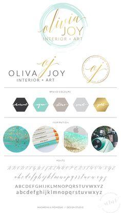 Watercolor Logo Script Calligraphy Aqua by MacaronsandMimosas Corporate Design, Brand Identity Design, Branding Design, Corporate Branding, Business Branding, Web Design, Design Blog, Design Trends, Joy Logo