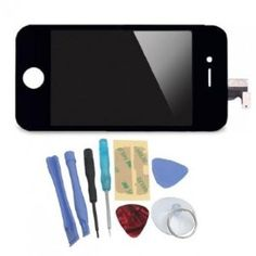 iPhone 4S LCD + Touch Screen Glass Digitizer Assembly Replacement + Back Cover Case + 8 Piece Repair Tool Kit Black