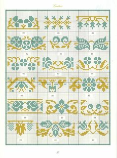 Borders in cross stitch 28 Cross Stitch Boarders, Cross Stitch Samplers, Cross Stitch Flowers, Cross Stitch Charts, Cross Stitching, Cross Stitch Embroidery, Embroidery Patterns, Cross Stitch Patterns, Seed Bead Patterns