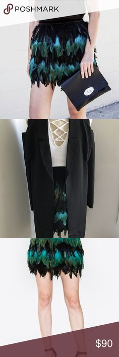 Emerald Feather Skirt It is time to turn some heads ladies! The emerald feather skirt is definitely going to be a HOT one for the holiday season. Pair it with a simple tank and leather jacket or snazz it up with a long sleeve body-suit and black pea coat. This skirt is perfect for your upcoming holiday party. You do not want to miss out. Available in Small, Medium or Large Skirts Mini