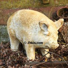 Small Standing Pig Statue. Little fat pot belly pig statue. A great outdoor piece to sit by your front porch, would make a great gift for that pot belly pig lover.