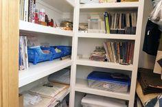 Shelf storage built into closet.
