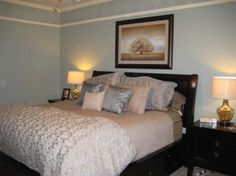 grey/blue bedroom with dark brown furniture. Dark Brown Bedrooms, Blue Gray Bedroom, Blue Bedrooms, Bedroom Styles, Bedroom Ideas, Bedroom Decor, Dark Brown Furniture, Light Blue Walls, Master Bedroom