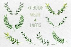 Watercolor set of laurel, wreath and leaves clip art. Would it be different to incorporate a laurel wreath somehow??
