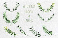 Watercolor set of laurel, wreath and leaves clip art