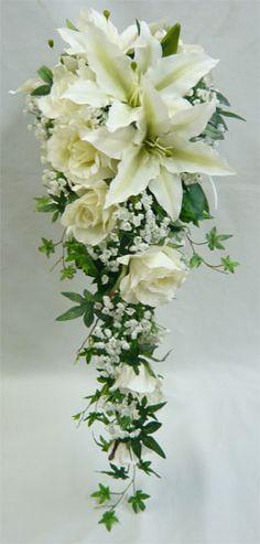 SB84 | ウエディングドレスに合うアートフラワーブーケ・造花ブーケ | ウエディングブーケセレクトショップウエディング造花ブーケ・ユリキャスケード