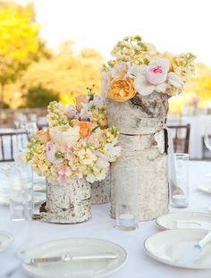 Glitz Bliss: Decoration Ideas: Birch wood and Flowers centerpiece