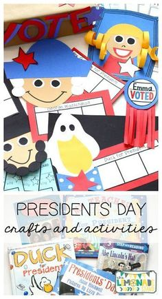 This Presidents' Day pack is the perfect ELA unit for the week of Presidents' Day.  It's full of Presidents' Day crafts, Presidents' Day activities, and has a focus on identifying key ideas and details in text.  Great for kindergarten through second grade.  Presidents Day craft   art   education