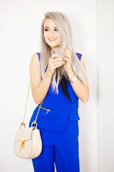 Styling my pastel hair down and sleek to compliment my cobalt blue tailored Three Floor Jumpsuit and Chloe Drew in Arctic white. Also shown is my gorgeous Larsson and Jennings watch.