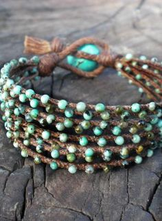 Turquoise braidied bracelet, turquoise  beads  2 mm  brown  linen, Bohemian (Boho) / Hippie