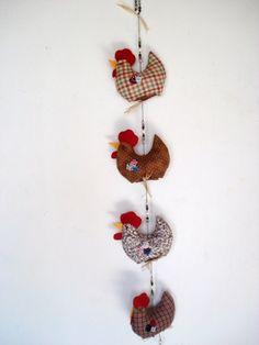 Penduricalho PATCHWORK, -móbile de galinhas