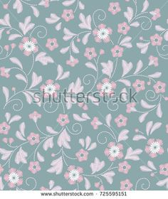 Cute floral pattern in the small flower. Embroidery Print. Seamless vector texture. Elegant template for fashion prints. Printing with small pink flowers. Light gray background.