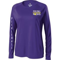 Long Sleeve Purple Pickleball Rocks Shirt.  Great gift for that lady pickleball player in your life.  $26.95