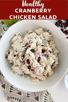 Cranberry Chicken Salad with Apples is loaded with tender chicken, crisp apples and tart dried cranberries in a light creamy dressing.