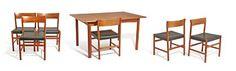 """ARNE HALVORSEN OSLO 1929  Spisestue Rasmus Solberg/L. Jacobsens Møbelsnekkeri. 1960-tallet. 6 stoler modell """"Nr. 9"""" (L. Jacobsens Møbelsnekkeri) og bord , ukjent modellbenevnelse (Rasmus Solberg). Teak. Stolene trukket i flaskegrønt kunstskinn. Bord med 2 ileggsplater. Modern Art, Table, Furniture, Design, Home Decor, Decoration Home, Room Decor, Tables"""