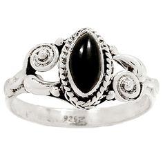 Black Onyx 925 Sterling Silver Ring Jewelry s.7.5 RR28521   eBay