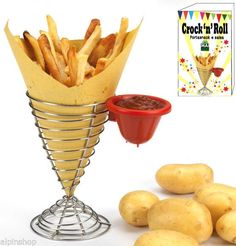 Porta Patatine Fritte in Metallo con Porta Salse- Dispenser Ketchup Maionese BBQ Crock'n Roooll!!!