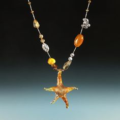 Art glass butterscotch seahorse necklace! Fresh from the sea!