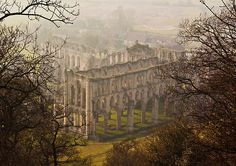 The ruins of Rievaulx Abbey in North Yorkshire. Established in 1132 and dissolved in 1538 by the orders of Henry the 8th during the period of the dissolution of the English Monasteries. It was one of the largest and wealthiest abbeys in England.