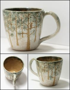 This is a made to order mug (2-6 weeks)    About the originals:    Hand painted stoneware glazes with sgraffito exposed speckled buff clay, create this snowy woodland scene. It is multi-textured - you can feel the picture. Love more than what is in your cup with handmade functional art. Wheel Thrown Speckled Buff Clay Body  Pulled Handle  Cone 5 Stoneware  Shiny and Matte Finish  Hand Painted Glazes with Sgraffito Exposed Naked Clay    Original Design and Creation by Northern Arizona Ceramic…