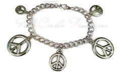 Peace Charm Bracelet  Silver Charm Bracelet by FullCircleTreasures