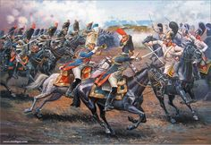 Charge of the Grenadiers a Cheval against Russian Gardes du Corp at Austerlitz- by Aleksandr Yezhov