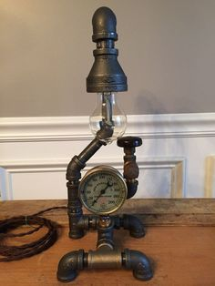 Steampunk Lamp,  Vintage Industrial Art, Brass Steam Pressure Gauge, Antique