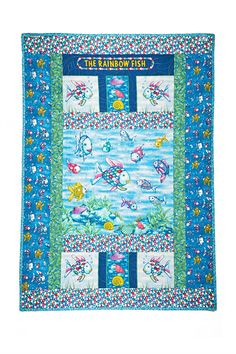 This fish quilt is so colorful and nice! Fish Quilt Pattern, Baby Quilt Patterns, Fish Patterns, Preschool Auction Projects, Fishing Nursery, Nautical Quilt, Wash And Go, Rainbow Fish, Panel Quilts