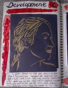 Making stencils to develop final piece ideas, for my GCSE Art exam sketchbook.
