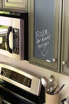 "Chalkboard cupboard door....maybe this is what I need so I don't keep getting asked ""What's for dinner?"""