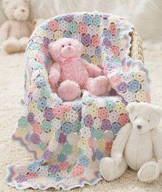 Caron International   Free Project   Tiny Snowflakes Baby Blanket