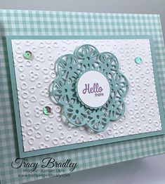 Doily Wishes Dies - Stamping With Tracy Spellbinders Cards, Stampin Up Cards, Making Greeting Cards, Greeting Cards Handmade, Handmade Birthday Cards, Birthday Gifts, Karten Diy, Ribbon Embroidery, Machine Embroidery