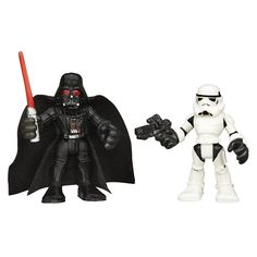 Playskool Heroes Star Wars Galactic Heroes Darth Vader and Stormtrooper. Darth Vader and Stormtrooper figures sized for small hands. Simple poses for epic adventures. Pretend to save the day with Darth Vader's lightsaber and the Stormtrooper's blaster. Includes 1 Darth Vader figure and 1 Stormtrooper figure.