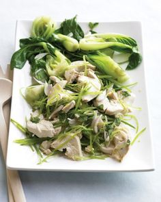 The light dressing for this salad takes its inspiration from Vietnamese nuoc cham sauce, a mixture of lime juice, fish sauce, sugar, and hot pepper (cayenne, in this case). Toss sliced chicken breasts, snow peas, shallots, and mint in the dressing and serve with blanched baby bok choy.