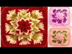 Como tejer a Crochet cuadrado con flor estrella en relieve How to Learn Crochet - YouTube