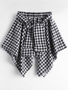 Zaful - Zaful Asymmetric Checked Skirt - AdoreWe.com