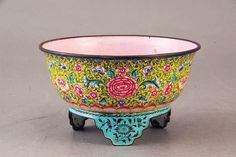 Chinese C18th small footed bowl or censer, enamel on copper