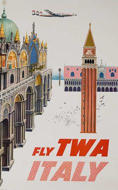 Vintage Fly TWA Italy Poster