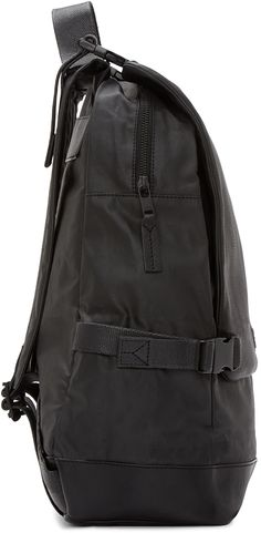 Y-3: Black Leather Toile Backpack   SSENSE