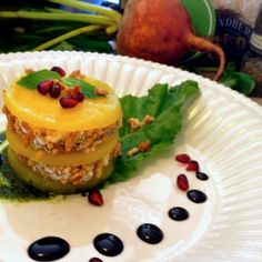 Beet Tower with Rosemary - Rice Kissed Goat Cheese