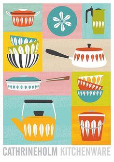 Cathrineholm affiches art de la cuisine ustensiles de par handz