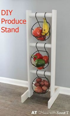 Inexpensive DIY produce stand ~ you cold also use this in a bathroom or bedroom, so many uses for this clever DIY.