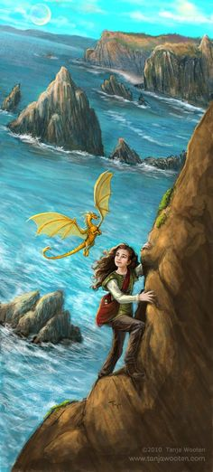 Climbing Picture  (2d, fantasy, dragon, pern, fair tale, girl, child, landscape)